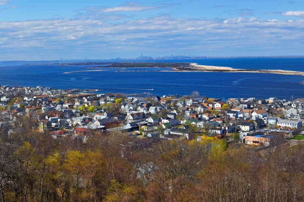 Sandy Hook, ocean and NYC panorama from light house